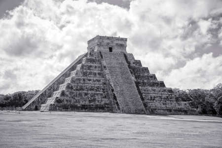 Travel Mexico background - Anicent Maya mayan pyramid El Castillo (Kukulkan) in Chichen-Itza, Mexico photo