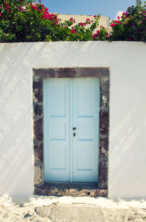 view of a wooden doorway: Blue traditional door