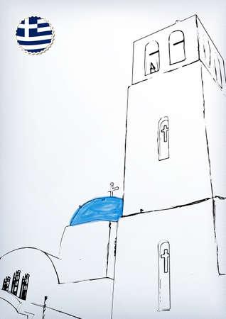greek islands: Iconic church with blue cupola