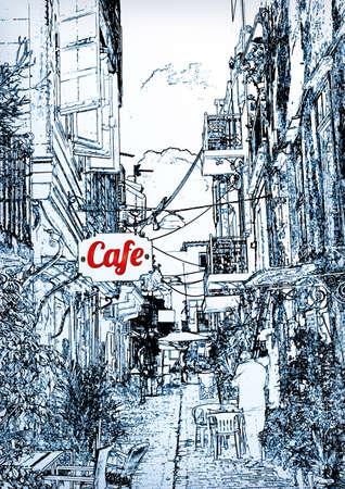 Cafés dans la vieille ville Banque d'images - 33077261