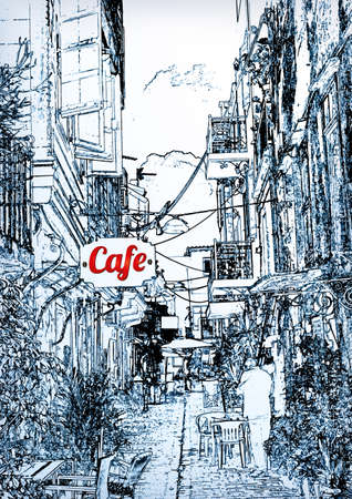 cafes in the old city Vector