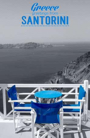 greek islands: Table on terrace overlooking sea