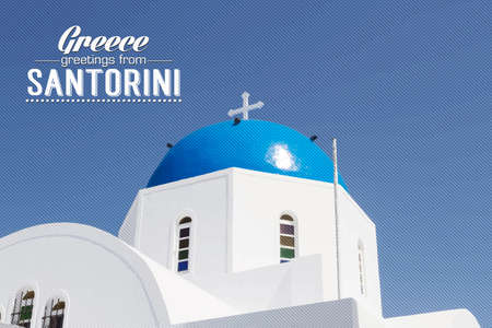 aegean: Iconic church with blue cupola Santorini, Cyclades, Greece