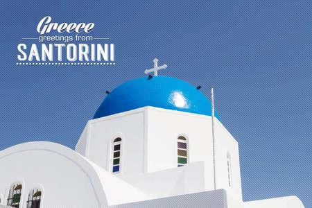 kopule: Iconic kostel s modrou kopulí Santorini, Kyklady, Řecko Ilustrace