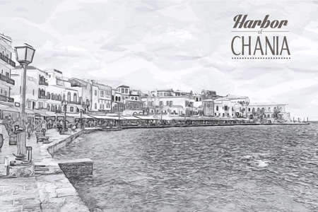 Beautiful cityscape and bay in city of Chania on island of Crete, Greece Illustration