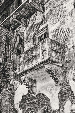 romeo juliet: The famous balcony of Romeo and Juliet in Verona, Italy Stock Photo