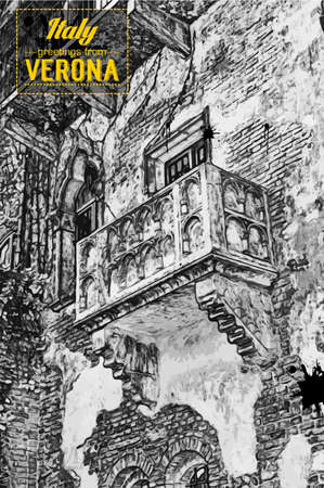 romeo and juliet: The famous balcony of Romeo and Juliet Illustration