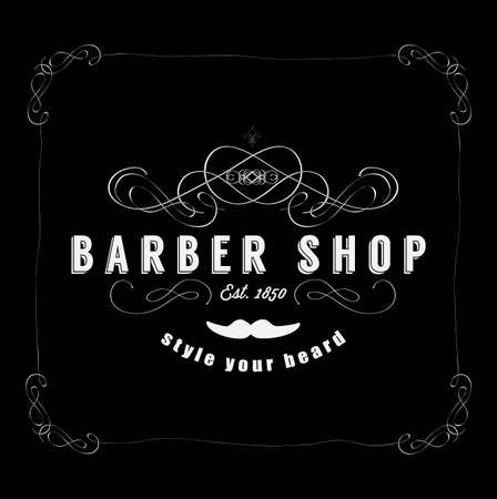 beard man: Vintage Barber Shop Badg Illustration