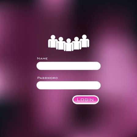 login icon: Minimal Login Form Design and Blurred vector background Illustration