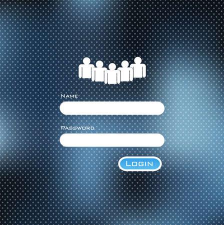 color registration: Minimal Login Form Design and Blurred vector background Illustration