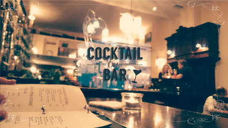 night bar: cocktail old bar restaurant blurred background