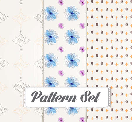 caffe: illustration of Seamless patterns set