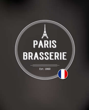 brasserie: Brasserie Paris Badge with flag of france Illustration