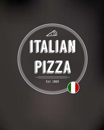 pizzeria label: Italian Pizza. Vintage fast food background.