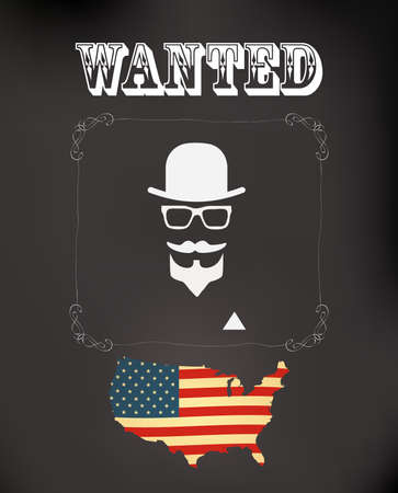 corruption: vector wanted poster with hipster man and usa flag