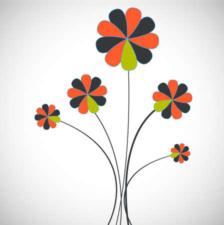 desing: card with flower vector sign flat desing Illustration