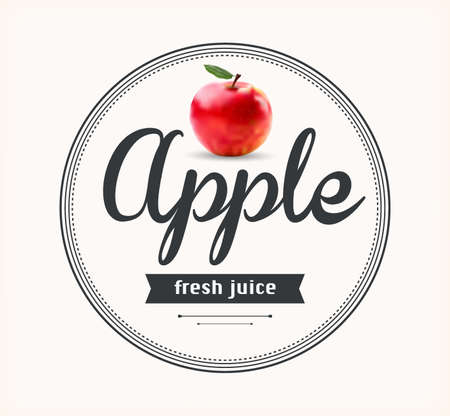 Apple juice. Detailed Vector label. Series of food and drink.