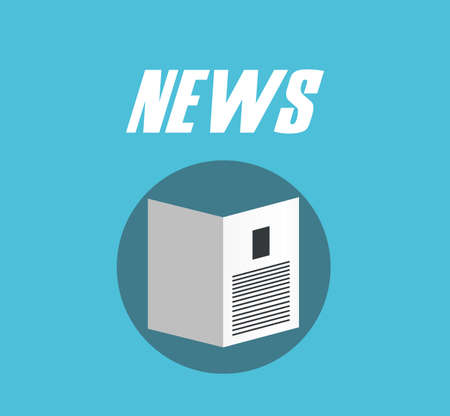 currently: News  - Vector newspaper icon blue flat design Illustration