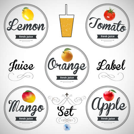 flavour: fruit juice. Detailed label. Series of food and drink. Illustration