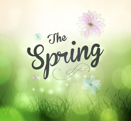 Typographic Design - Its Spring Time, coloful background