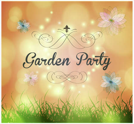 garden party invitation with ornaments and flowers