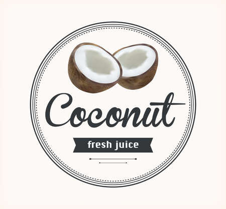 fresh food: coconut juice. Detailed Vector label. Series of food and drink. Illustration