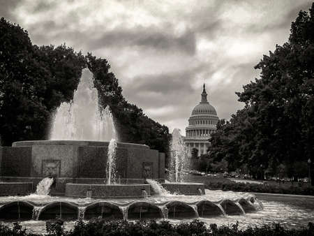 congressional: Capitol Hill in Washington DC black an withe Stock Photo