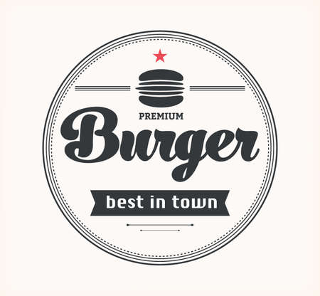 eatery: Vector vintage fast food logo. Retro burger. Bistro icon. Eatery emblem with hamburger.