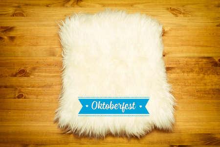 fur carpet on wood floor Stockfoto