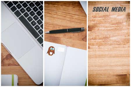 social media, pc on wooden desk