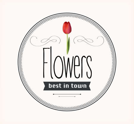 retro flowers: Flowers vintage retro label Illustration