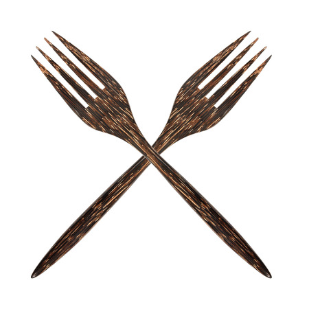 doublet: Top view of twin wooden fork Stock Photo
