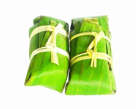 nem: fermented ground pork in banana leaf packing Stock Photo