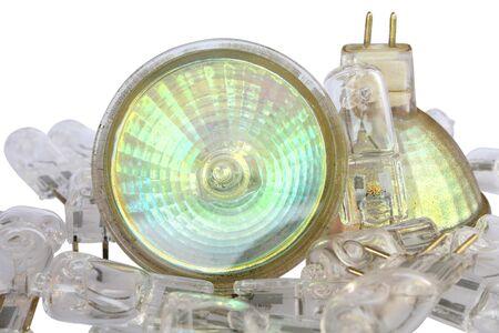 halogen: Pile of halogen light bulb on white background