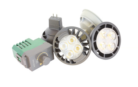 resourceful: LED lamps and Dimmer switch  isolated on white background