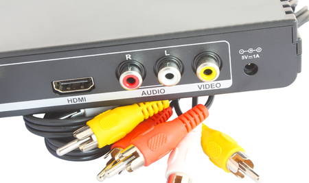 AV Port at the back of device Stock Photo