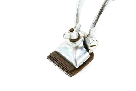 clipper: Vintage hair clipper on a white background Stock Photo