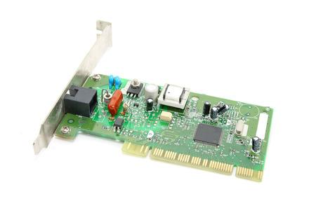 pci card: Internal modem isolated on white background Stock Photo