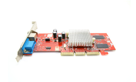 pci card: Old computer graphic card on white background