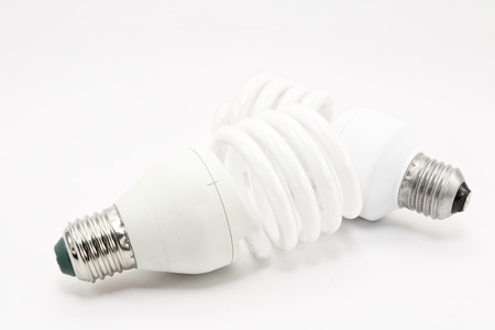 Energy saving light bulb on a white background Stock Photo