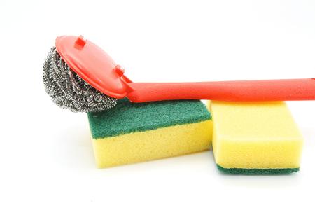 steel wool: Steel wool and sponge for dishwashing on white background
