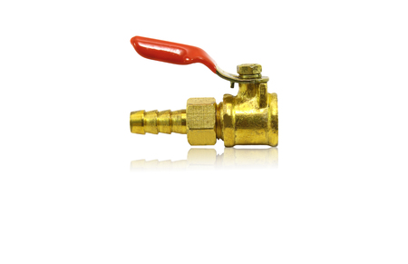 tubulure: Plumbing fitting and ball valve, isolated on white background