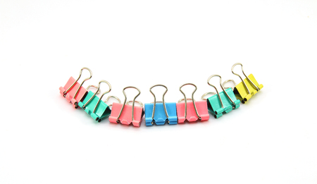 Colorful binder clip isolated on white background Stock Photo
