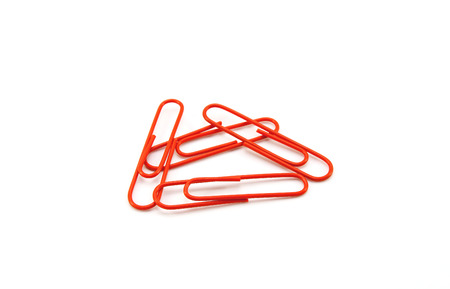 paperclips: Metal paperclips on white background Stock Photo