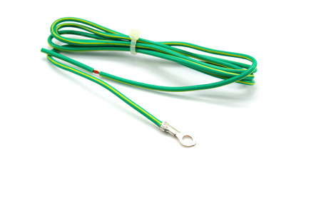 grounding: Electrical grounding cable on white background