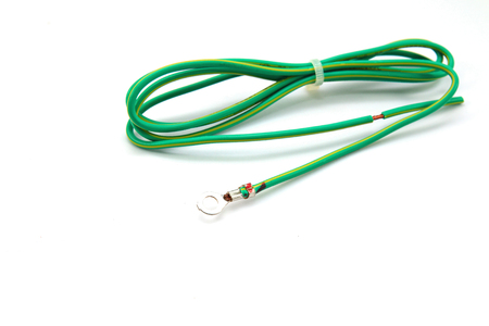 earthing: Electrical grounding cable on white background