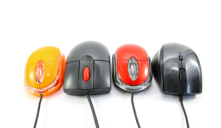 input device: Computer mouses on white background