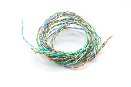multicore: Telephone or telecommunication cable on white background