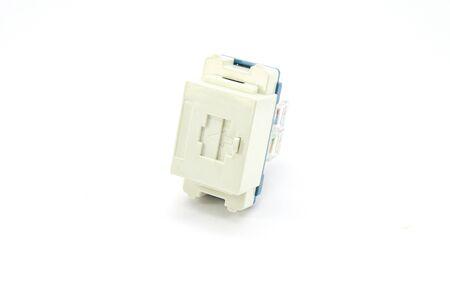 keystone: Used RJ-45 socket on white background