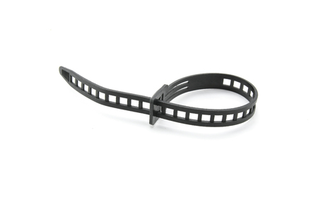 cable tie: Black plastic cable tie on white background